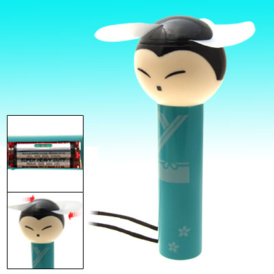 Cartoon Boy Pattern Battery Operated Neck Fan - Green