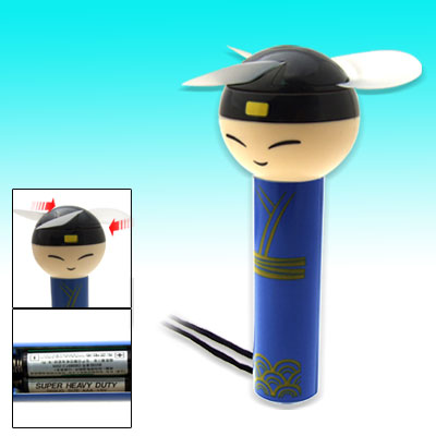 Tiny Portable Lovely Boy Pattern Battery Powered Slim Handle Blue Fan