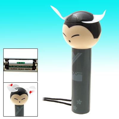 Cartoon Child Pattern Battery Powered Portable Fan w/ Long Slim Handle - Gray