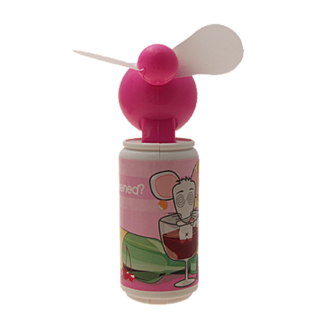 Cute Cartoon Mouse Pattern Battery Powered Mini Cooling Fan - Pink