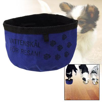 Fashion Portable Flower Pattern Blue Nylon Rag Pet's Dish Bowl