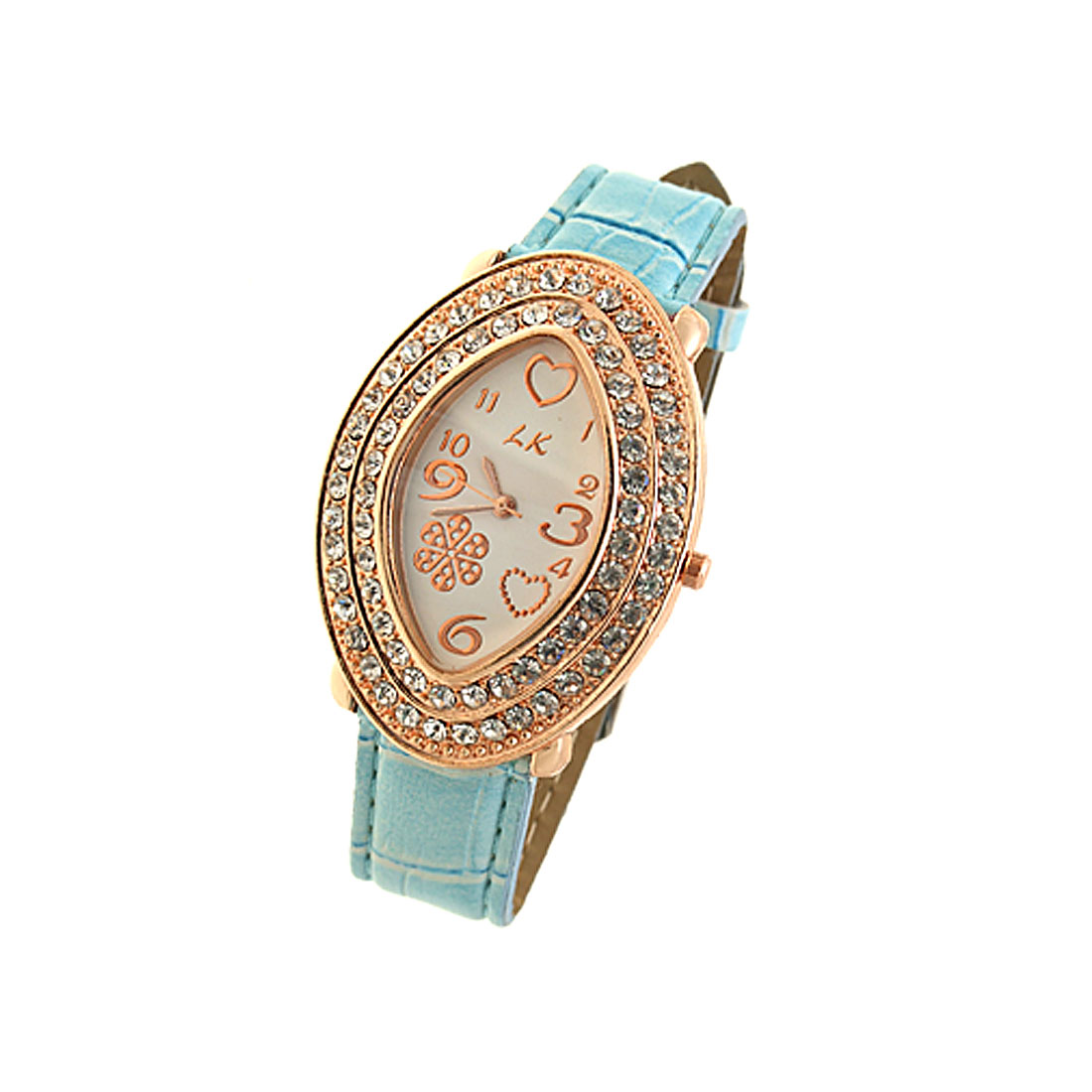 Fashion Cyan Leather Watchband Oval Golden Watch Case Ladies' Wrist Watch