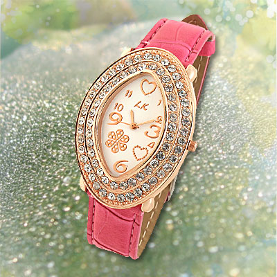 Pink Watchband Oval Golden Watch Case Ladies' Wrist Watch
