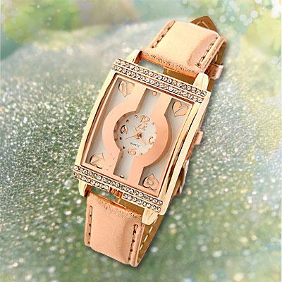 Fashion Leather Rectangle Golden Ladies' Wrist Quartz Watch