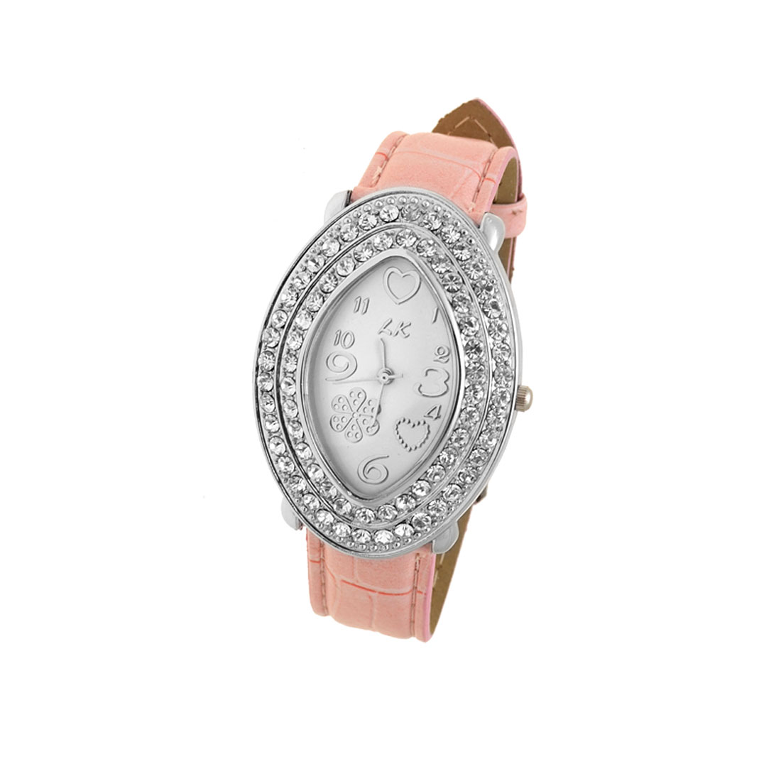 Fashion Oval Silvery Rhinestone Watch Case Pink Watchband Ladies' Wrist Watch