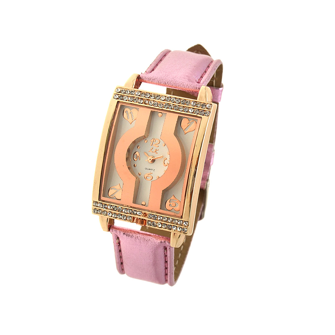 Purple Leather Watchband Rectangle Golden Watch Case Ladies' Wrist Watch