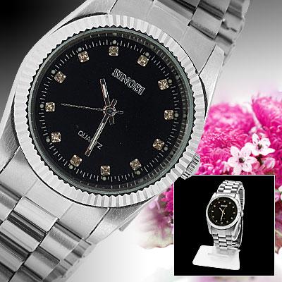 Fashion Black Dial Round Men's Quartz Wrist Watch