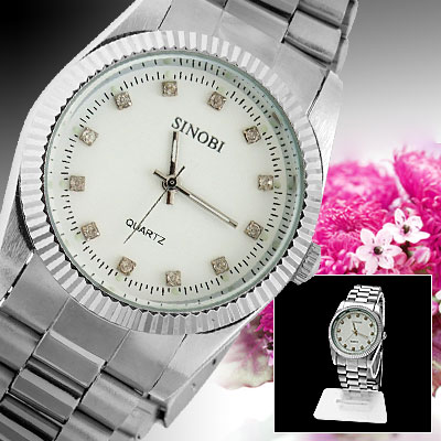 Round Silvery Watch Case Metal Watchband Men's Quartz Wrist Watch