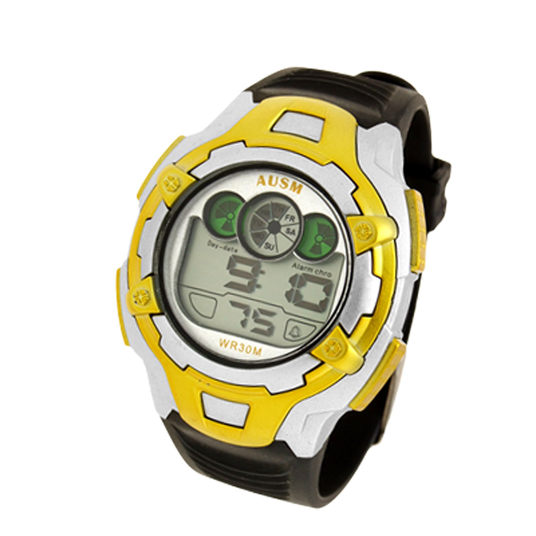 Fashion Multifunctional Round Plastic Watchband Electronic Sports Wrist Watch