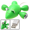 4 Port Green Mouse USB Hub with LED Light for PC Laptop