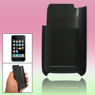 Black Leather Hard Plastic Back Case Cover for Apple iPhone 3G / 3GS