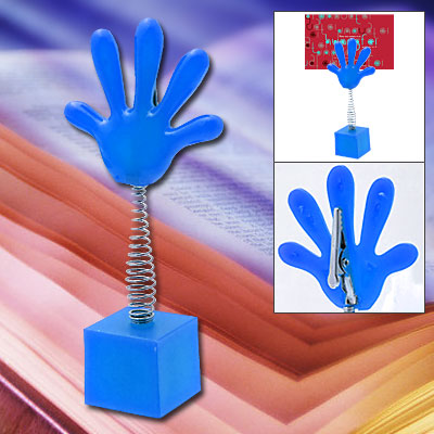 Unique Blue Hand Photo Note Memo Clip Holder with Flexible Spring