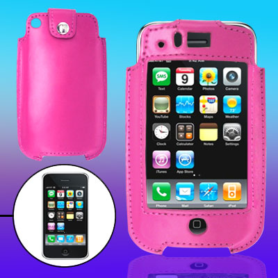 Vertical Hot Pink Leather Screen Cover Case for Apple iPhone 3G