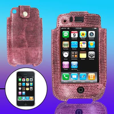 Vertical Purple Snakeskin Pattern Leather Protector Case for Apple iPhone 3G / 3GS
