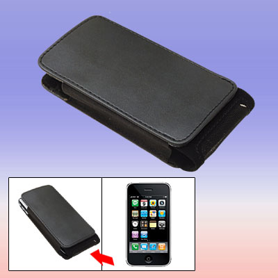 Black Leather Vertical Case Pouch for Apple iPhone 3G / 3GS