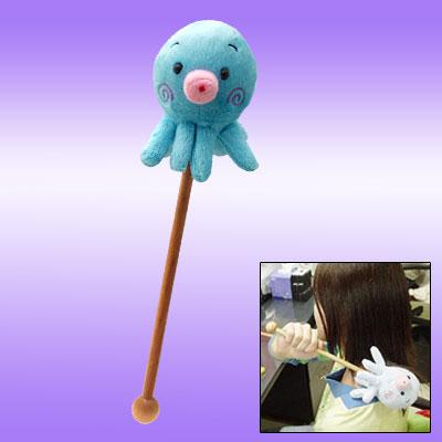 Soft Plush Sky Blue Little Octopus Wooden Stick Massager