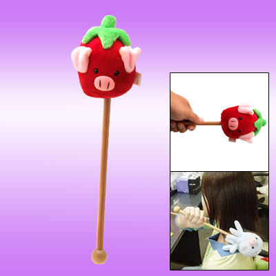 Stress Relief Red Strawberry Piggy Face Massager Stick