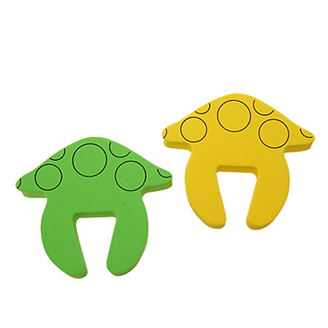 Mushroom Shaped Foam Safety Home Door Guard Green and Yellow