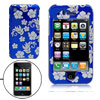 Silver Flower Design Hard Plastic Protective Case Cover for Apple iPhone 3G / 3GS