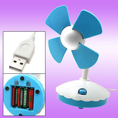 Without Noise Mini USB Desktop Fan PC Computer Laptop White and Blue
