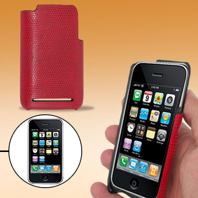 Red Snakeskin Pattern Leather Plastic Back Case Cover for Apple iPhone 3G / 3GS