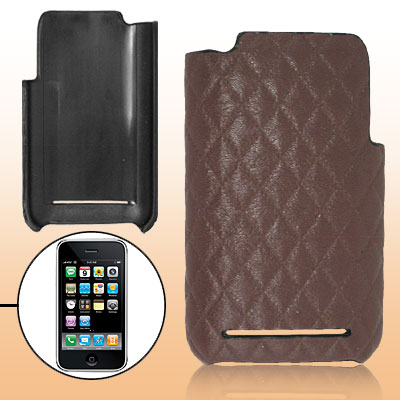 Coffee Snakeskin Pattern Leather Plastic Back Case Cover for Apple iPhone 3G / 3GS