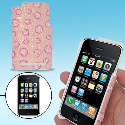 Hard Plastic Back Case Cover with Pink Dot Deign for Apple iPhone 3G / 3GS