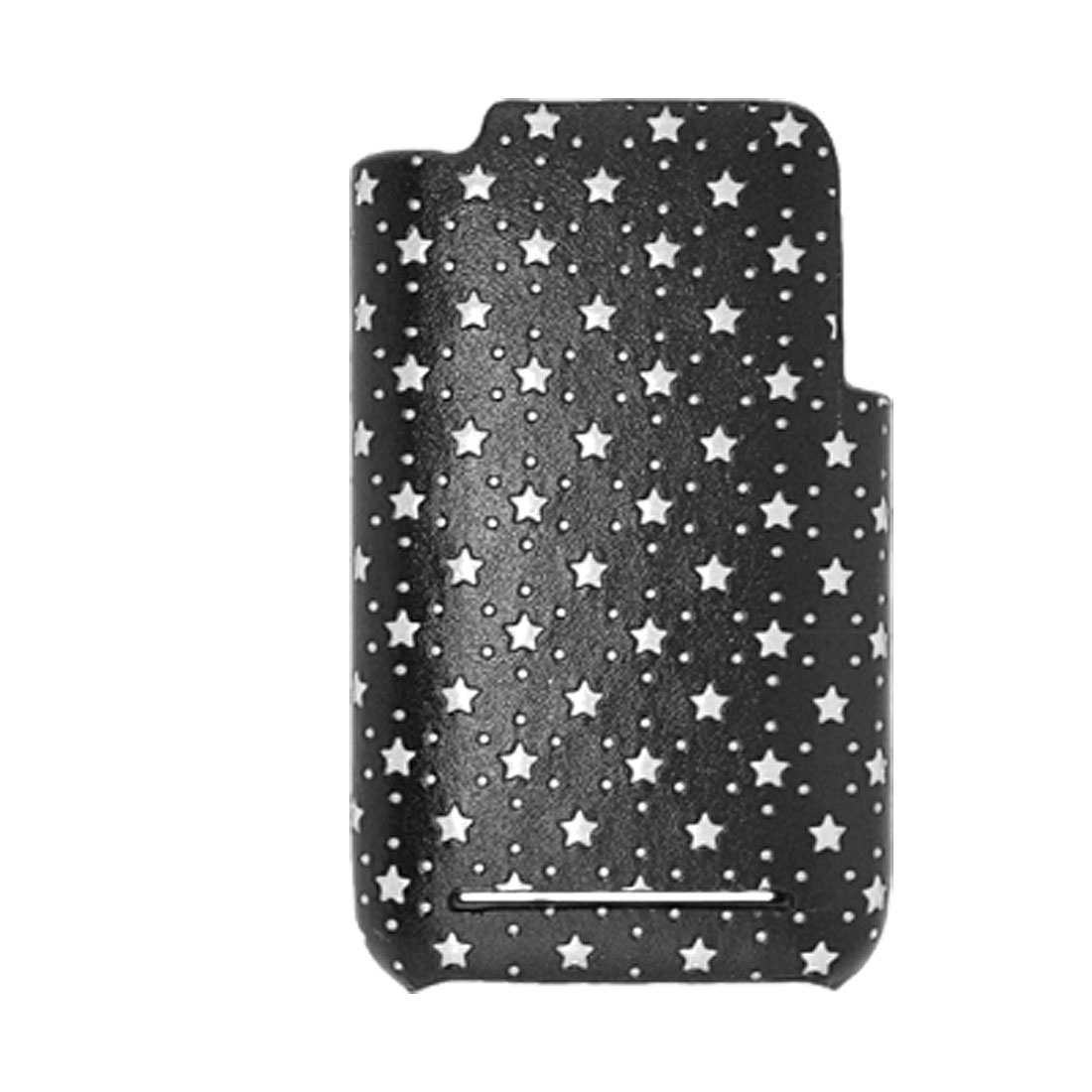 Star Pattern Leather Black Plastic Back Case Cover for Apple iPhone 3G