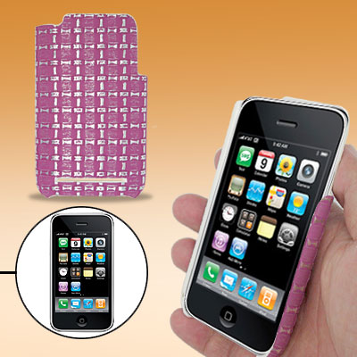 Hard Plastic Back Case Cover with Purple Checked Design for Apple iPhone 3G / 3GS