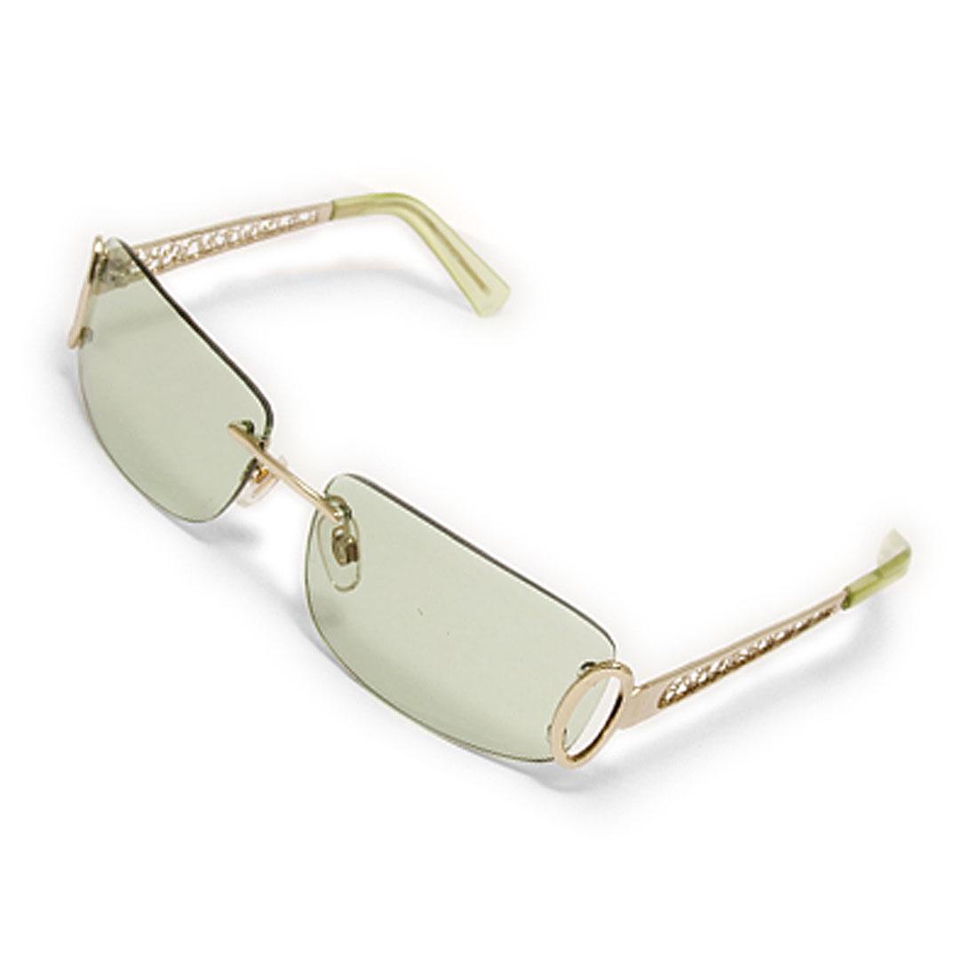 Light Green Lens Metal Frame UV Block Sunglasses Eyewear