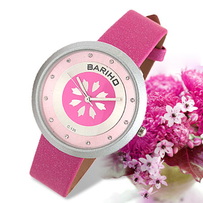 Fashion Amaranth Pink Leather Watchband Round Ladies' Quartz Wrist Watch
