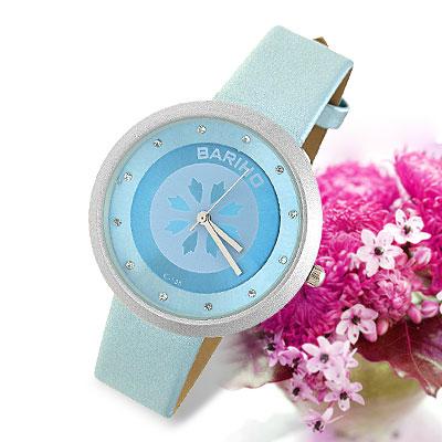 Blue Leather Watchband Round Watch Case Ladies' Quartz Wrist Watch