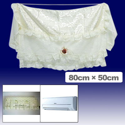 Flowers Pattern Indoor Lace Air-Conditioner Cover with Elastic