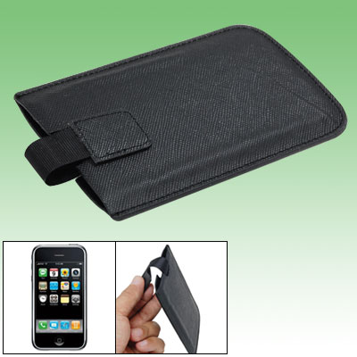 Black Texture Faux Leather Case Pouch for iPhone 3G