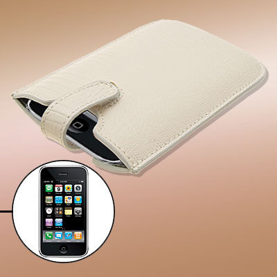 Crocodile Texture Milk White Leather Case Cover Pouch with Flap for Apple iPhone 3G / 3GS