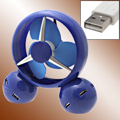 Blue Desk USB Cooler Fan with 4 Port Hub for Laptop PC