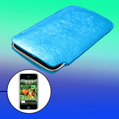 Blue Leather Protective Sleeve for Apple iPhone 1st Generation