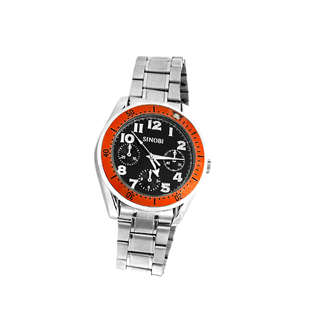 Fashion 3 Small Round Decorative in Dial Metal Band Men's Wrist Watch