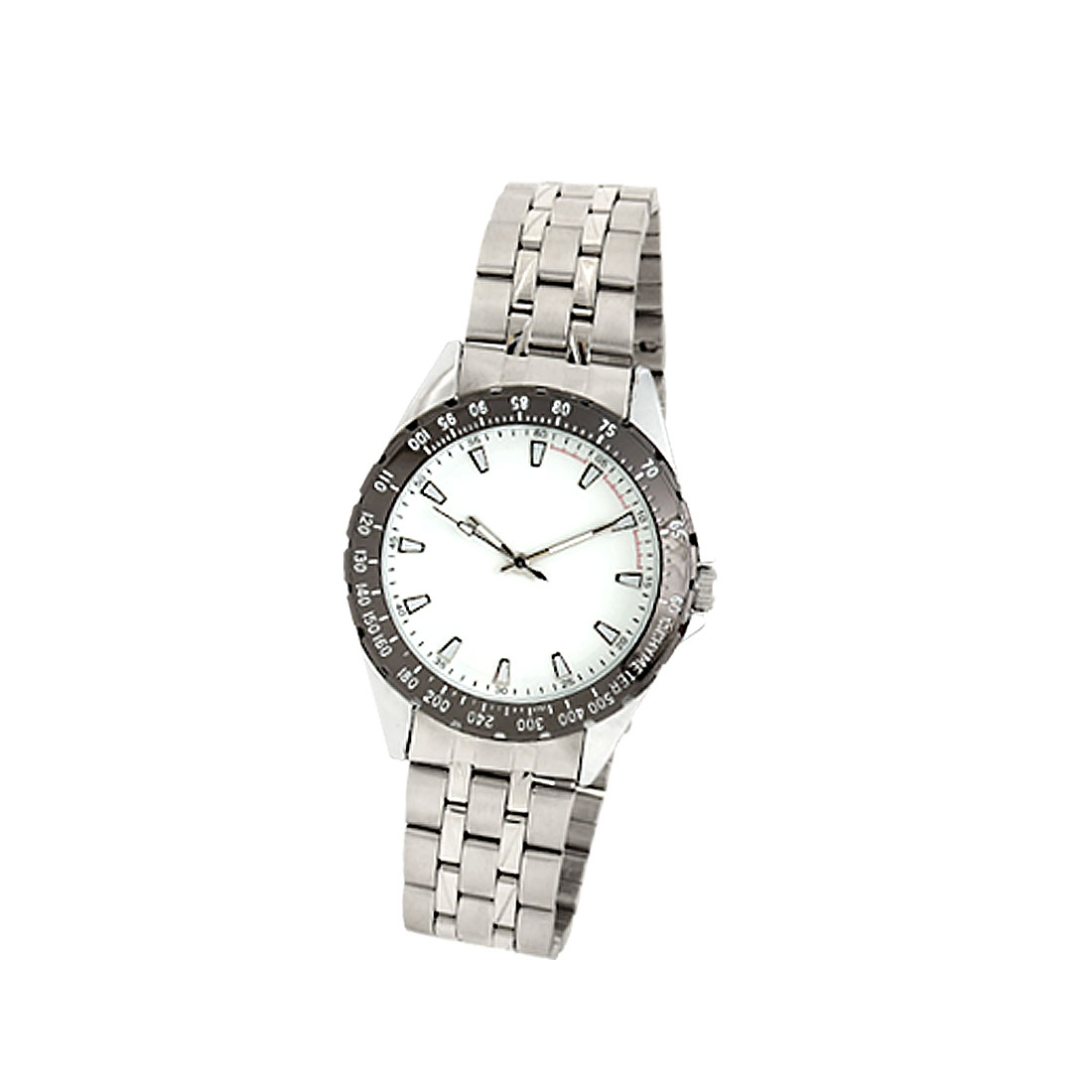 Cool Men White Dial Round Metal Wrist Watches Silvery