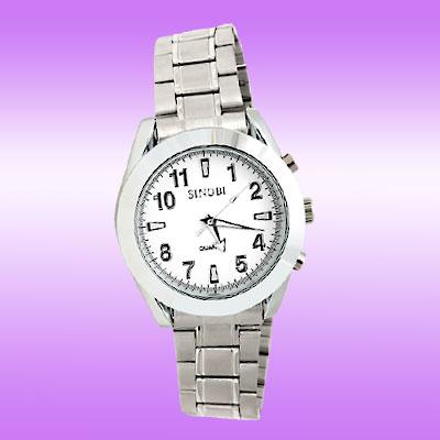 Fashion Metal Band Round Silvery Men's Quartz Wrist Watch