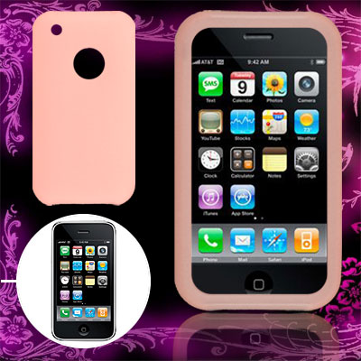 Vortical Design Pink Silicone Skin Case for Apple iPhone 3G / 3GS