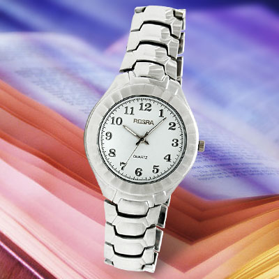 Vogue Silver Steel Band Men's Wrist Watch with Round WatchCase and White Dial