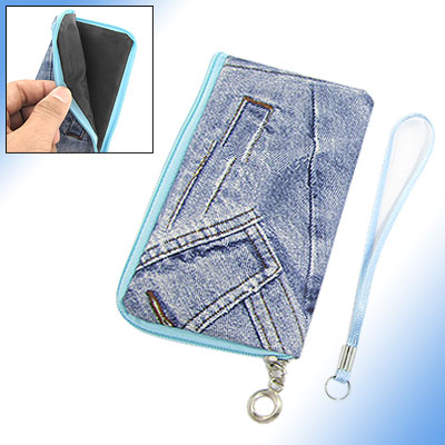 Zipper Closure Denim Pouch Holder for Cell Phone Mp4