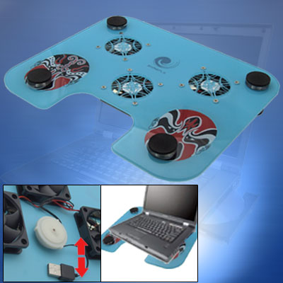 Face Painting Notebook USB Compact 3 Fans Cooling Pad