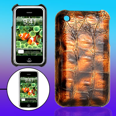 Textured Leather Covered Surface Hard Plastic Back Case Shell for Apple iPhone 3G / 3GS
