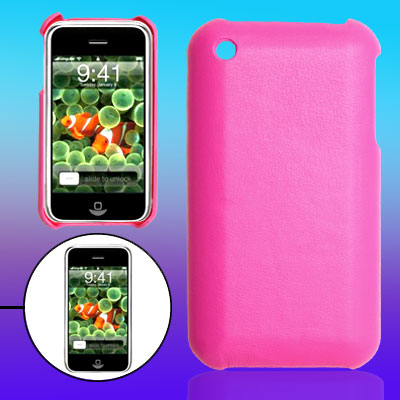 Amaranth Pink Leather Covered Plastic Back Cover Shell for Apple iPhone 3G