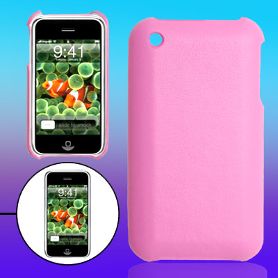 Pink Leather Covered Hard Plastic Mobile Back Cover Case for Apple iPhone 3G / 3GS