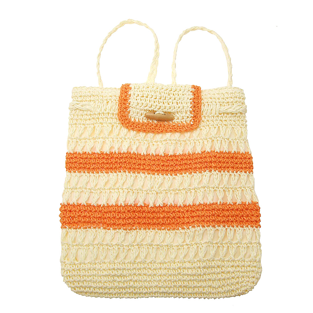 Lady's Orange Stripe Straw Backpack Bag Knapsack
