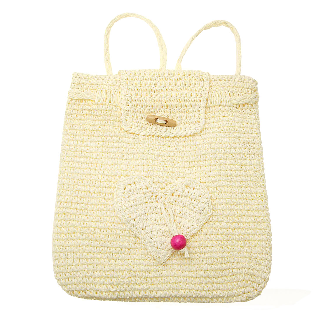 Heart Pattern Straw Backpack Knitting Lady's Back Bag