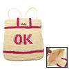 Lady's Cool Medium Pink 'OK' Stripe Straw Backpack Knapsack